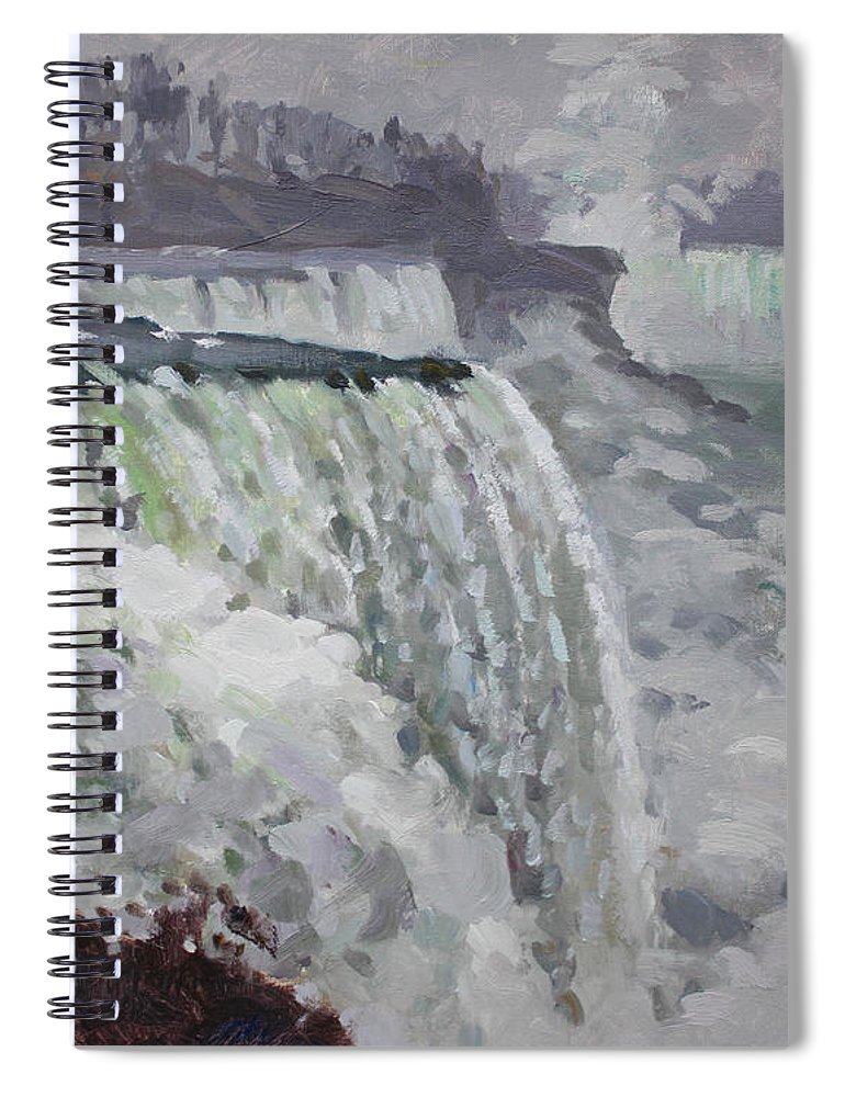 Gray Day Spiral Notebook featuring the painting Gray And Cold At American Falls by Ylli Haruni