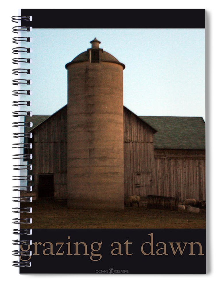 Barn Spiral Notebook featuring the photograph Grazing at Dawn by Tim Nyberg