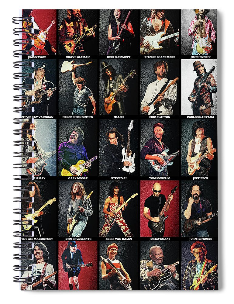 Guitar Spiral Notebook featuring the digital art Greatest Guitarists Of All Time by Zapista OU