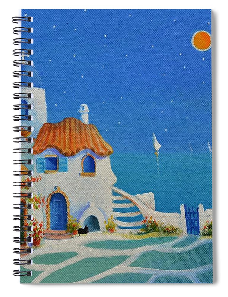 Greek Blue Spiral Notebook featuring the painting Greek Blue Santorini A Greek Fairytale by Ray Gilronan