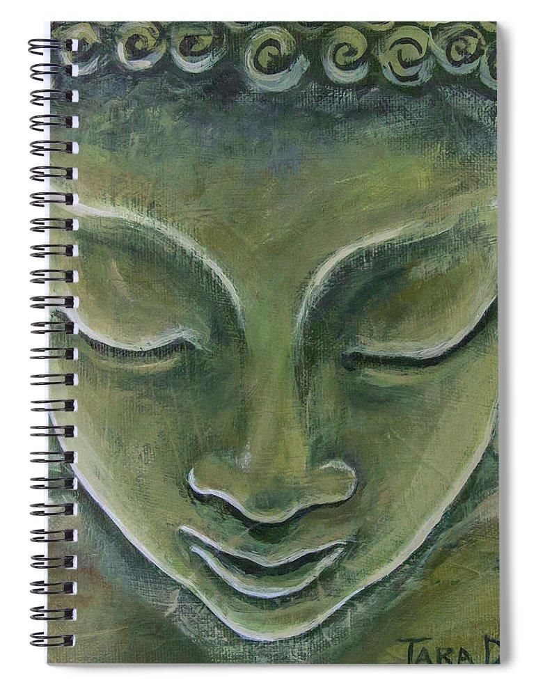 Tara Spiral Notebook featuring the painting Jade Buddha by Tara D Kemp