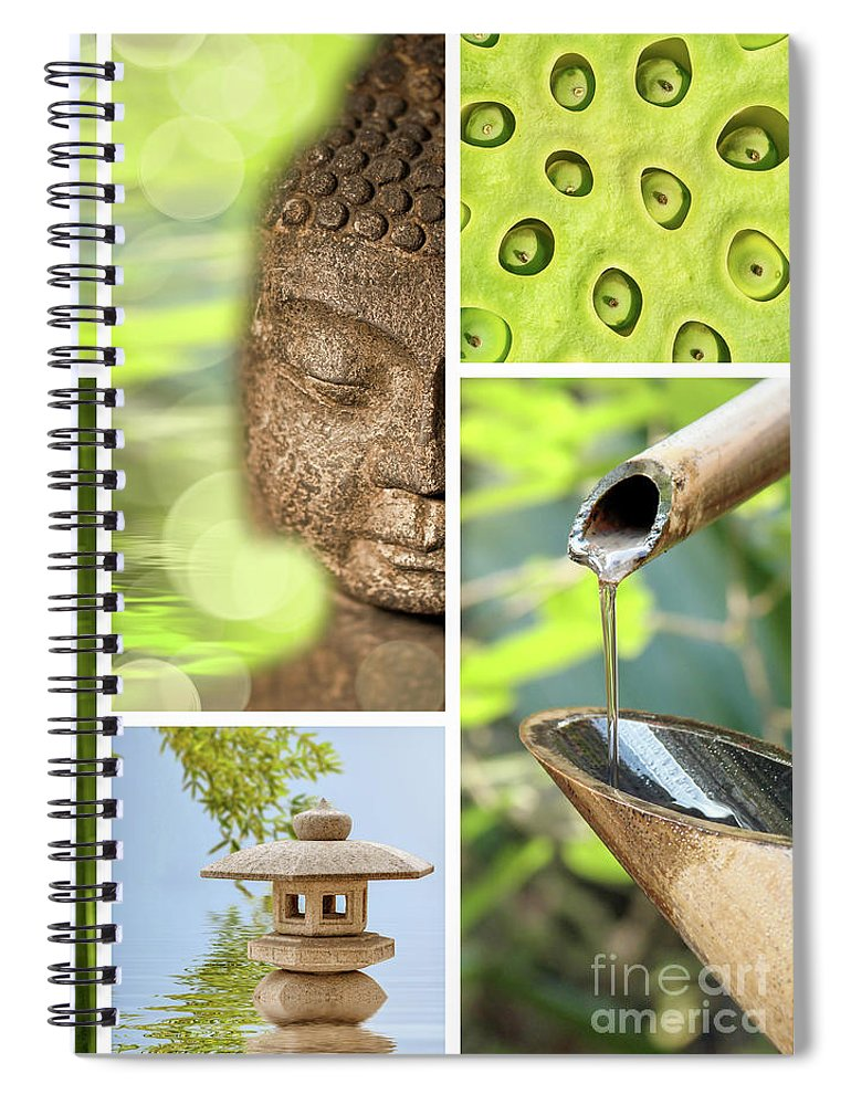 Buddha Spiral Notebook featuring the photograph Green Collage by Delphimages Photo Creations