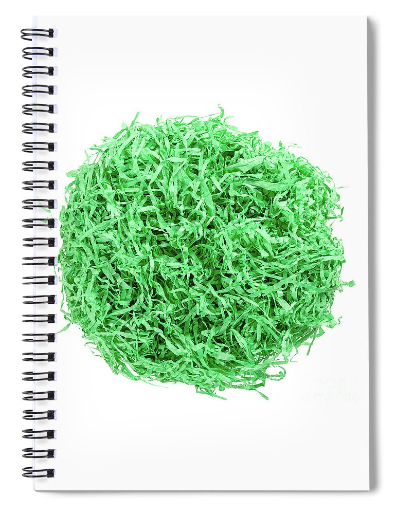 Paper Spiral Notebook featuring the photograph Green Paper Easter Grass Nest by Peter Hermes Furian