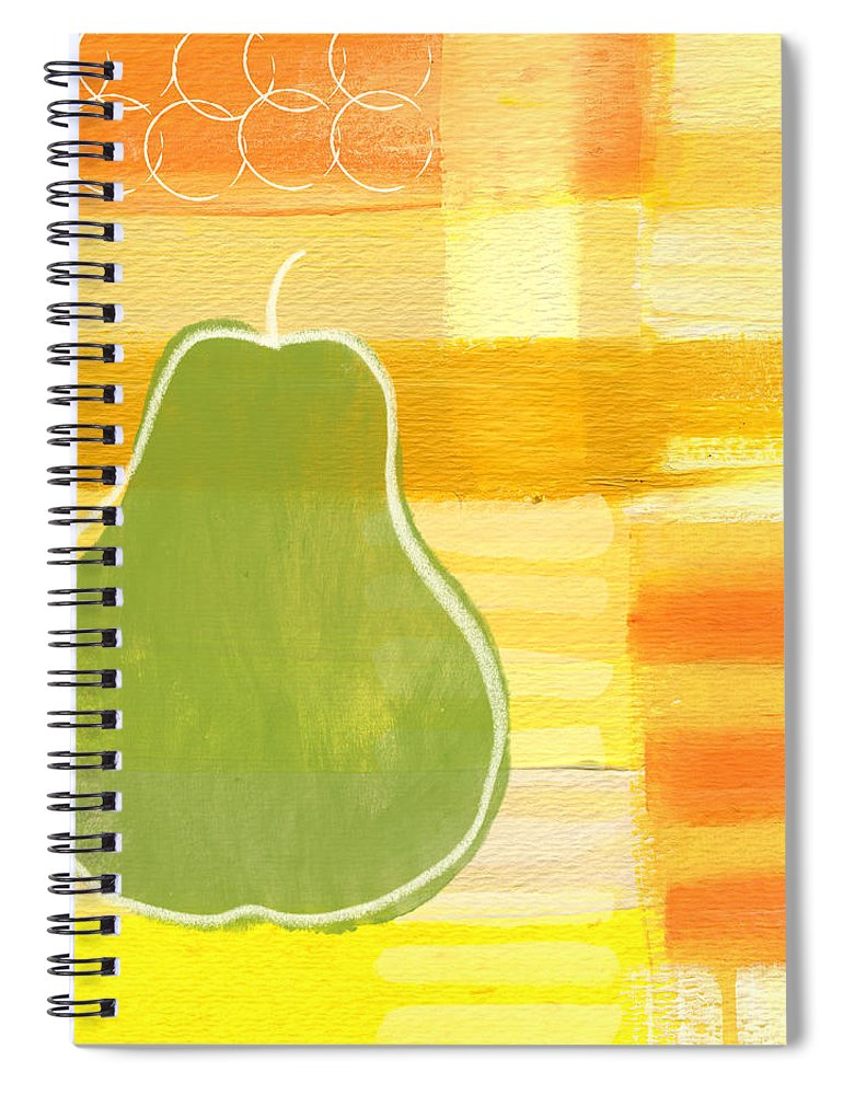 Pear Spiral Notebook featuring the painting Green Pear- Art By Linda Woods by Linda Woods
