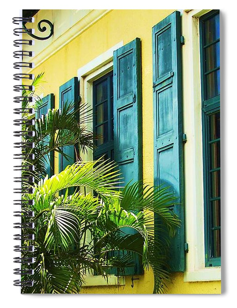 Architecture Spiral Notebook featuring the photograph Green Shutters by Debbi Granruth