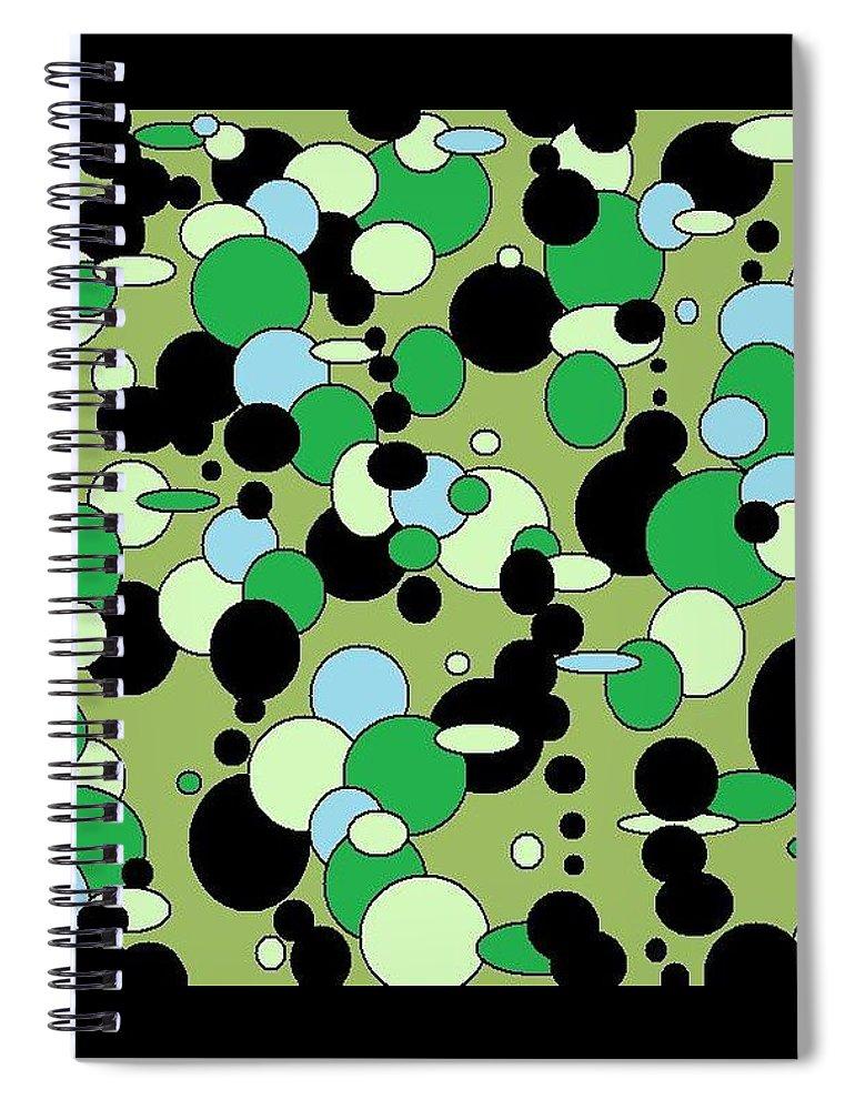Spiral Notebook featuring the digital art Greenies by Jordana Sands