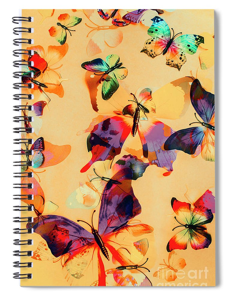 Background Spiral Notebook featuring the photograph Group Of Butterflies With Colorful Wings by Jorgo Photography - Wall Art Gallery
