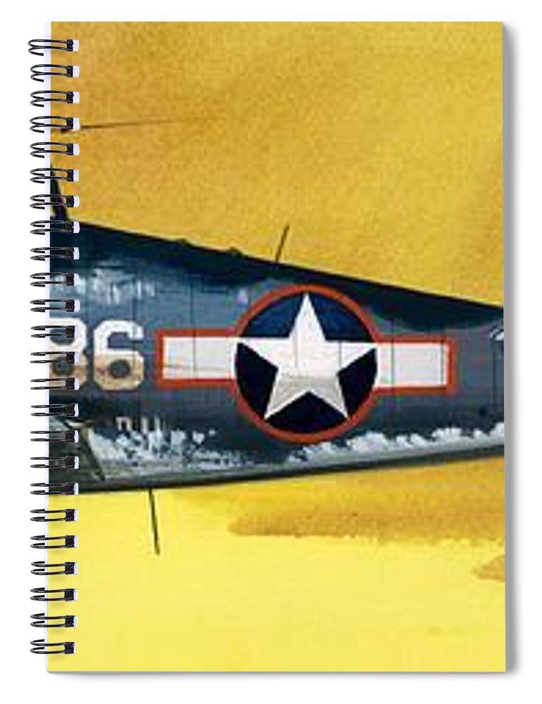 Aircraft; Aeroplane; Plane; Flying; Grumman F4rf-3 Wildcat; Grumman F6f-3 Hellcat; Chance Vought F4u-1a Corsair Spiral Notebook featuring the painting Grumman F6f-3 Hellcat by Wilf Hardy