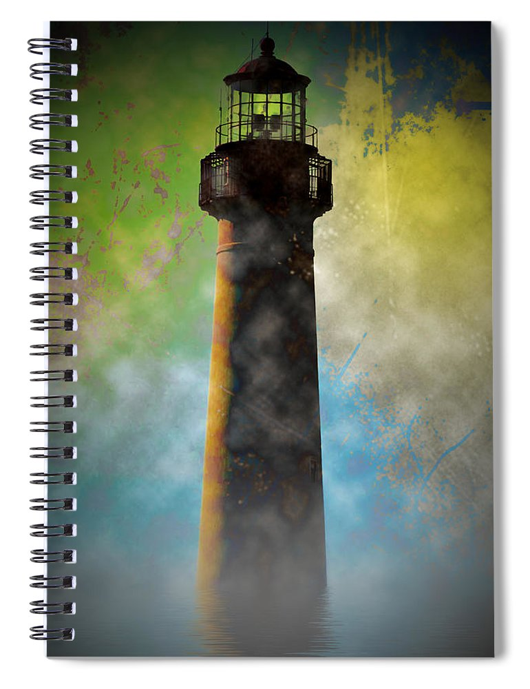 Grunge Spiral Notebook featuring the photograph Grunge Lighthouse by Bill Cannon