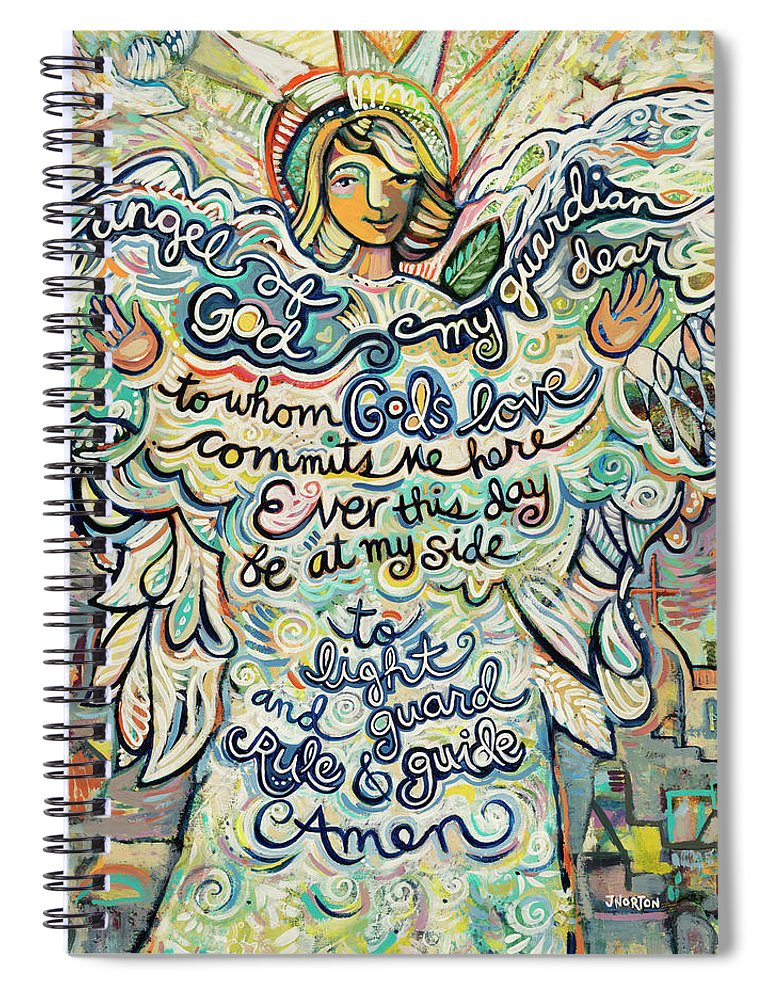 Jen Norton Spiral Notebook featuring the painting Guardian Angel by Jen Norton