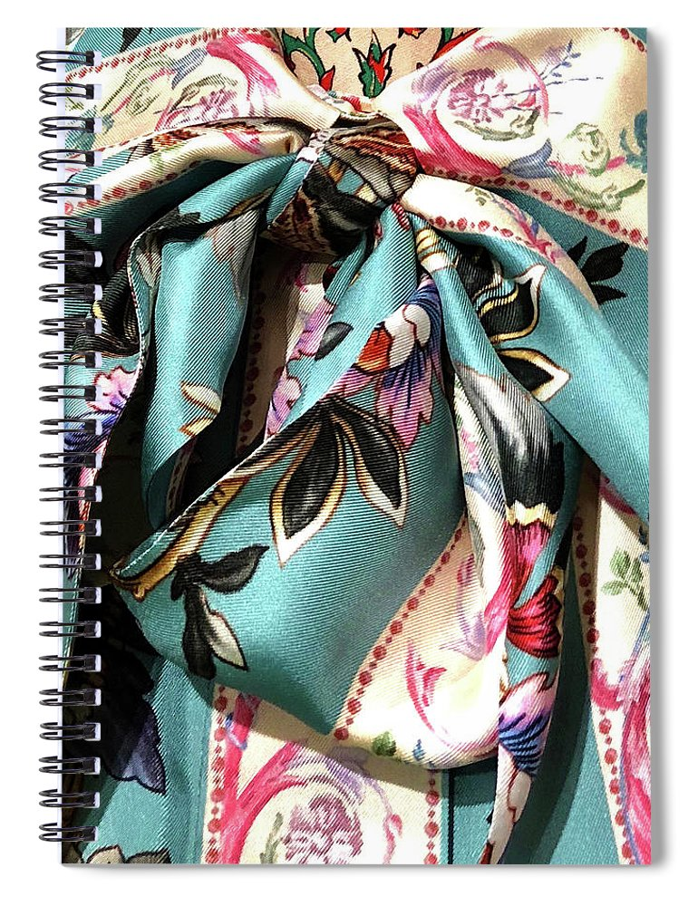 Fabric Spiral Notebook featuring the photograph Garden Bow by Ceil Diskin
