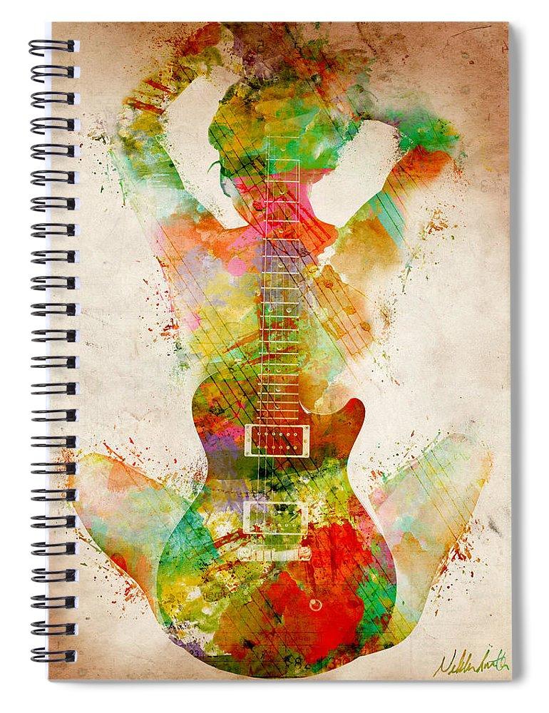 Guitar Spiral Notebook featuring the digital art Guitar Siren by Nikki Smith