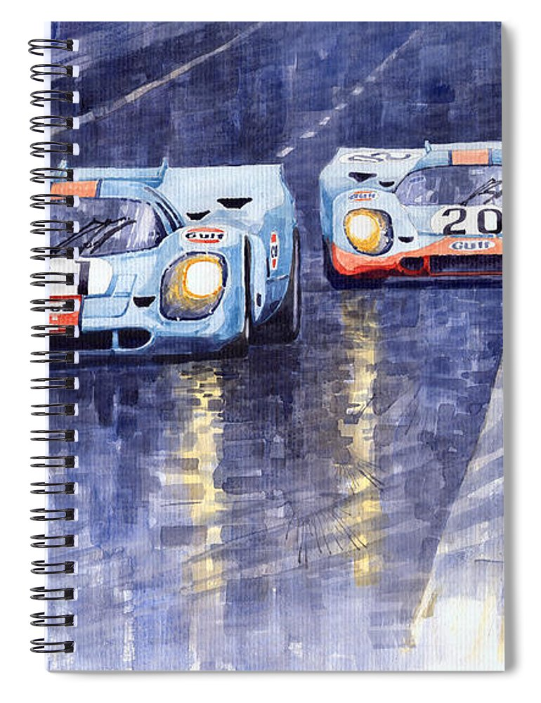 Watercolour Spiral Notebook featuring the painting Gulf-porsche 917 K Spa Francorchamps 1970 by Yuriy Shevchuk