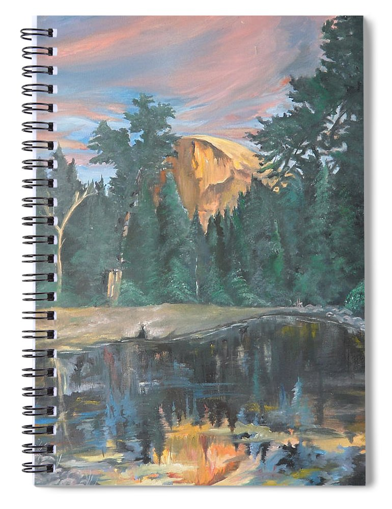 Sunset Spiral Notebook featuring the painting Half Dome Sunset by Travis Day