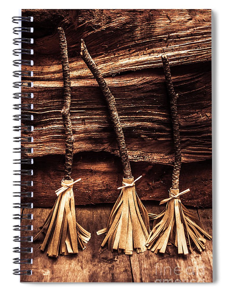 Witch Spiral Notebook featuring the photograph Halloween Witch Brooms by Jorgo Photography - Wall Art Gallery