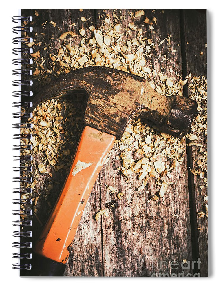 Carpentry Spiral Notebook featuring the photograph Hammer Details In Carpentry by Jorgo Photography - Wall Art Gallery