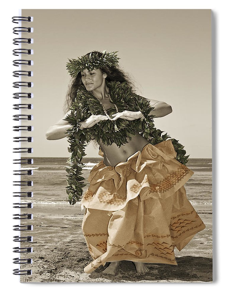 Afternoon Spiral Notebook featuring the photograph Hand Colored Hula by Himani - Printscapes