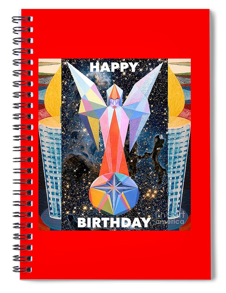 Wishes Spiral Notebook featuring the painting Happy Birthday- Candle - 1 by Michael Bellon