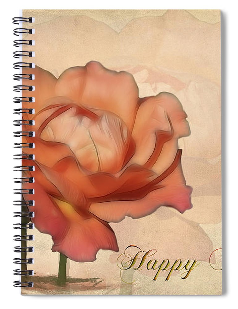 Flower Spiral Notebook featuring the photograph Happy Birthday Peach Rose Card by Teresa Zieba