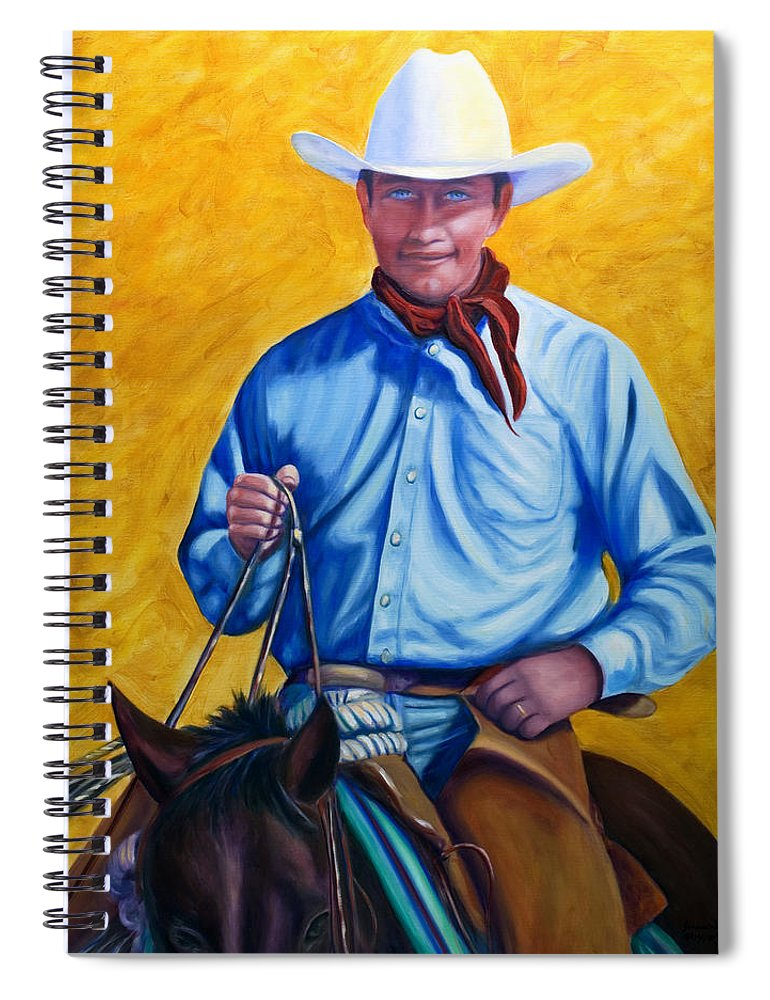Cowboy Spiral Notebook featuring the painting Happy Trails by Shannon Grissom
