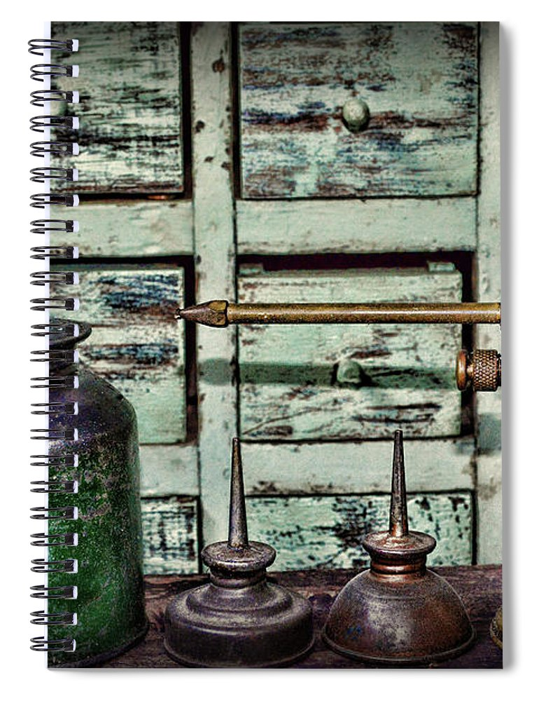 Paul Ward Spiral Notebook featuring the photograph Hardware - Vintage Oilers by Paul Ward