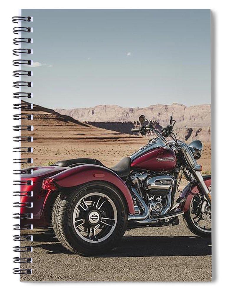 Harley-davidson Freewheeler Spiral Notebook featuring the digital art Harley-Davidson Freewheeler by Super Lovely