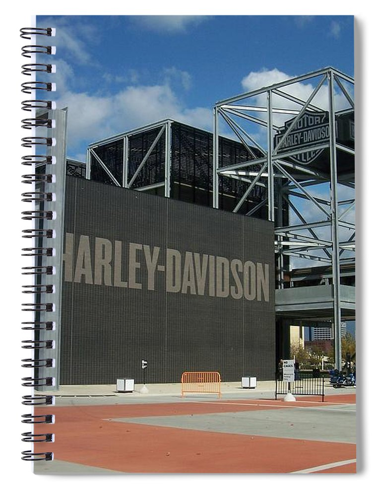 Spiral Notebook featuring the photograph Harley Museum by Anita Burgermeister