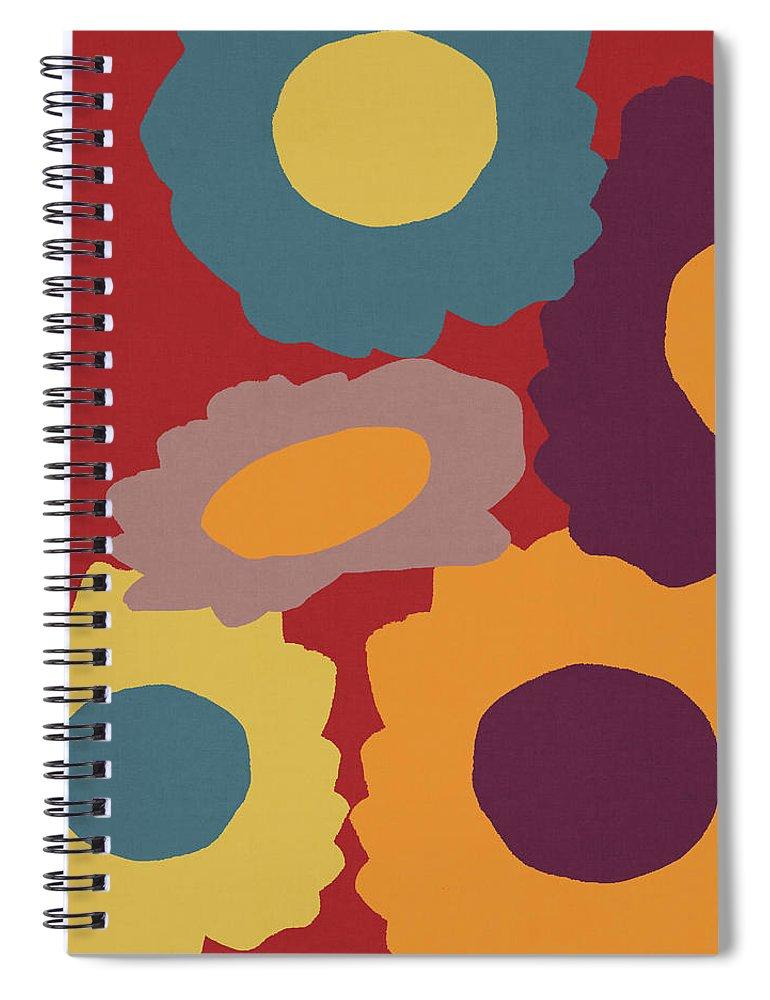 Sunflowers Spiral Notebook featuring the mixed media Harvest Flowers Red- Art By Linda Woods by Linda Woods