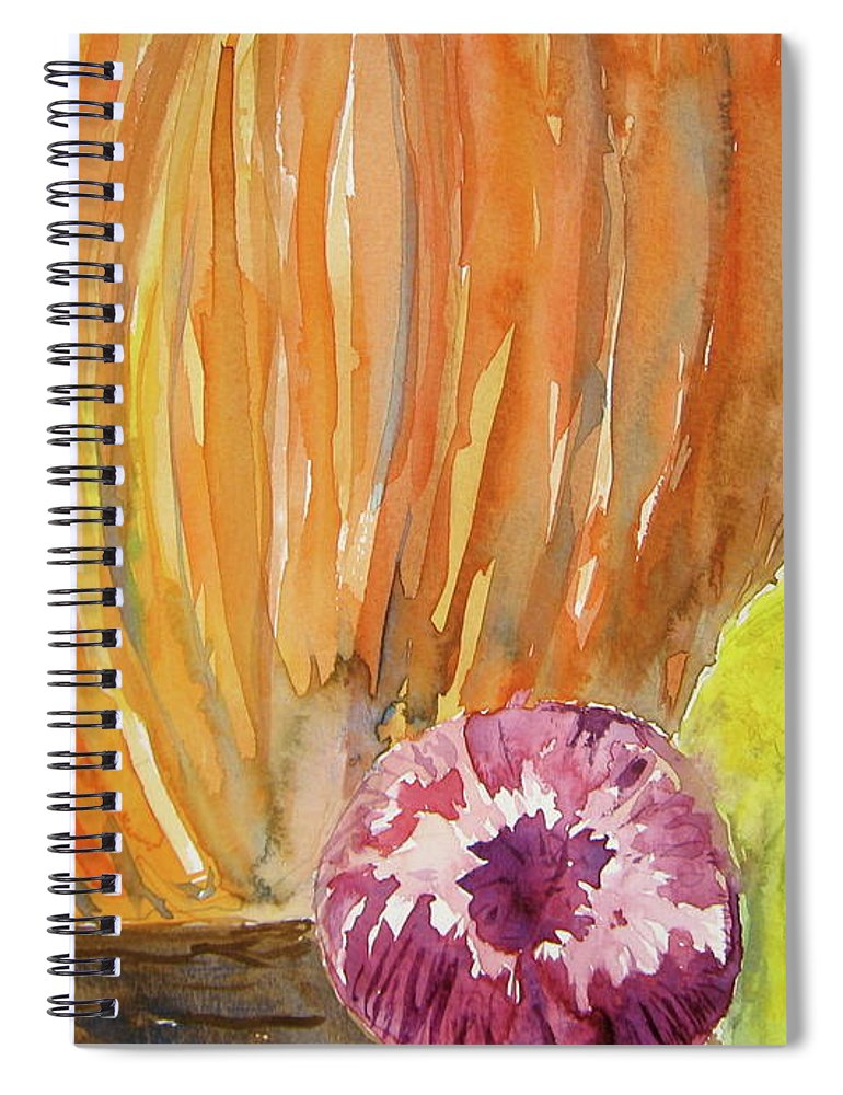 Pumpkin Spiral Notebook featuring the painting Harvest Still Life by Beverley Harper Tinsley