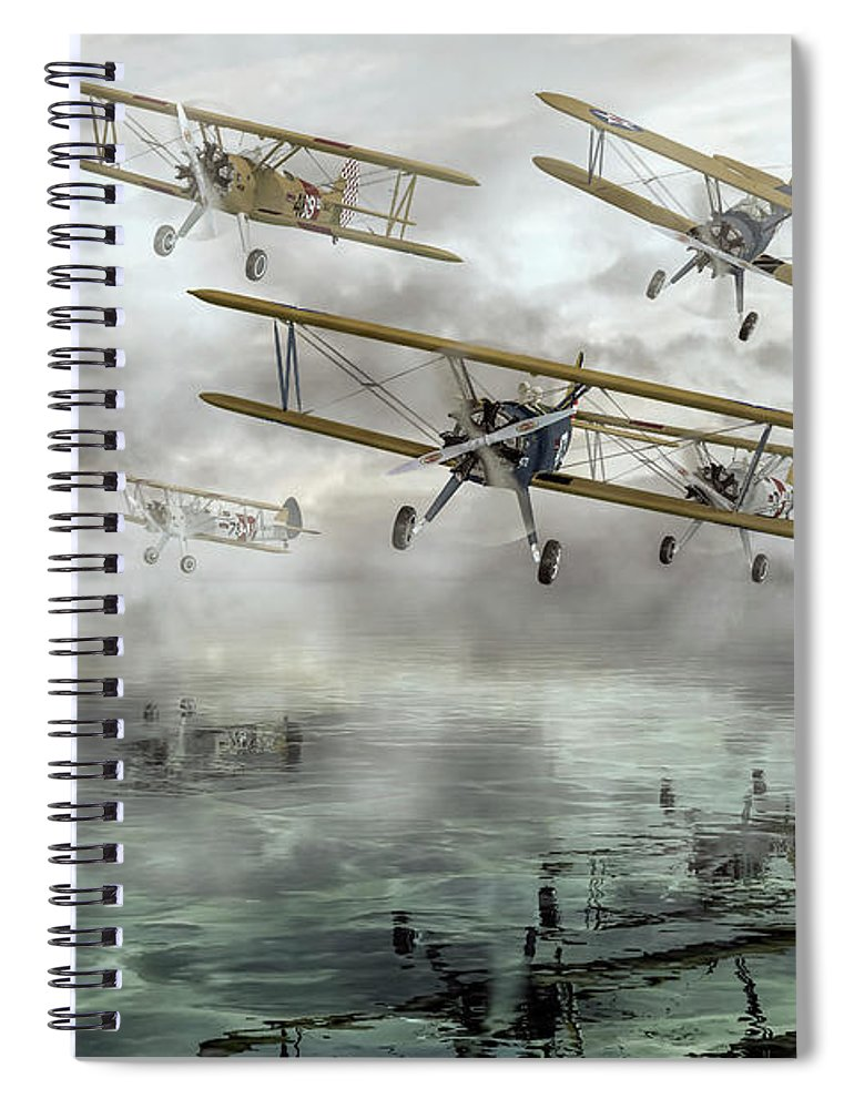 Airplane Spiral Notebook featuring the digital art Haunting Sky by Betsy Knapp