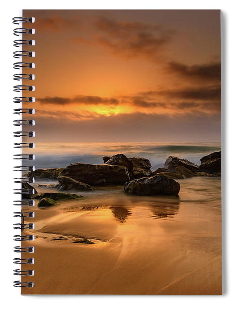 Australia Spiral Notebook featuring the photograph Hazy Sunrise Seascape With Rocks by Merrillie Redden