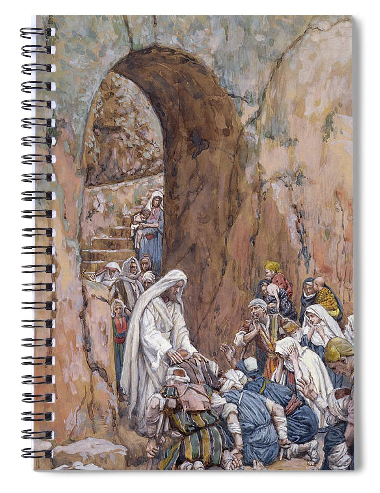 Did Spiral Notebook featuring the painting He Did No Miracles Save That He Healed Them by Tissot