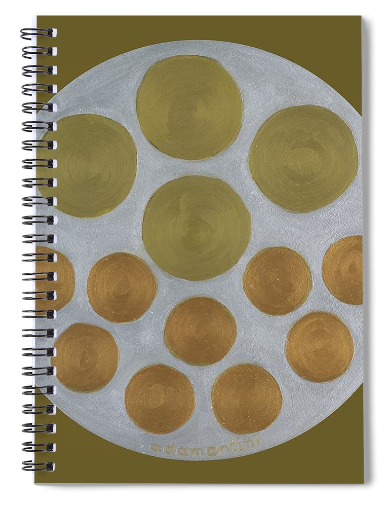 He Tu Spiral Notebook featuring the painting He Tu Metal Round by Adamantini Feng shui