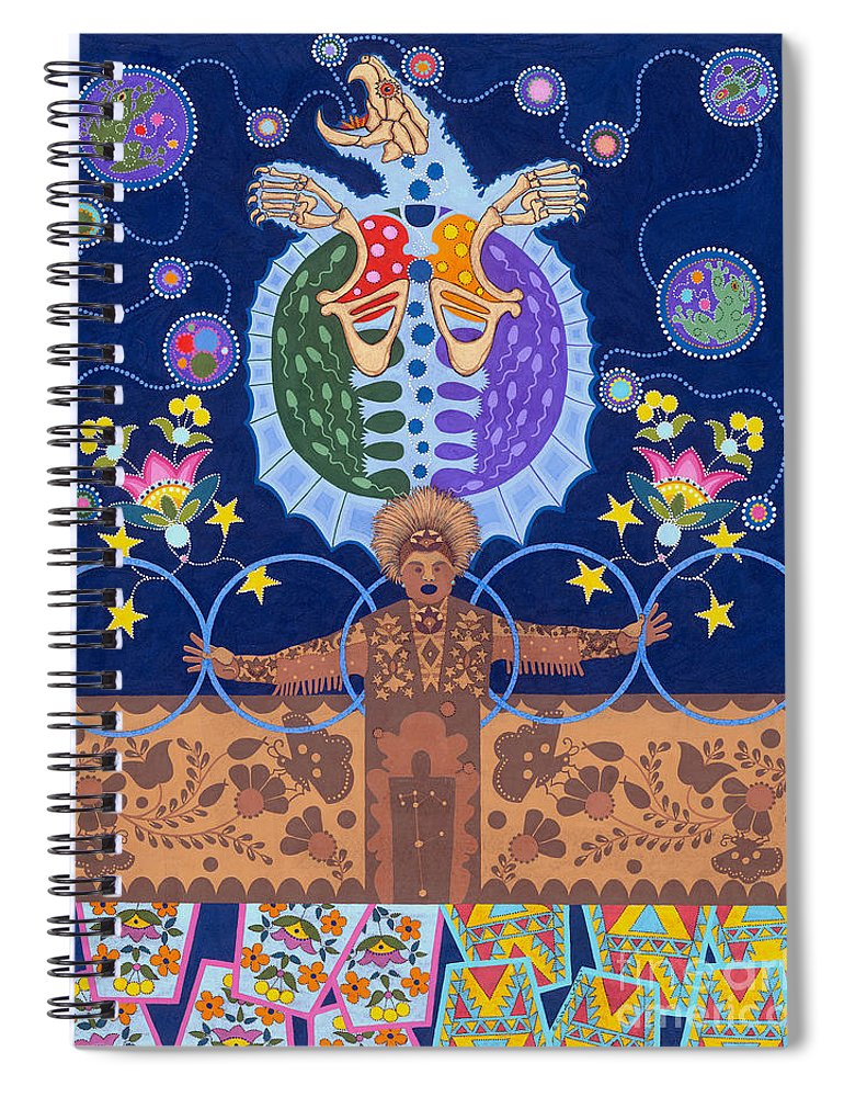 Native American Spiral Notebook featuring the painting Healing - nanatawihowin by Chholing Taha