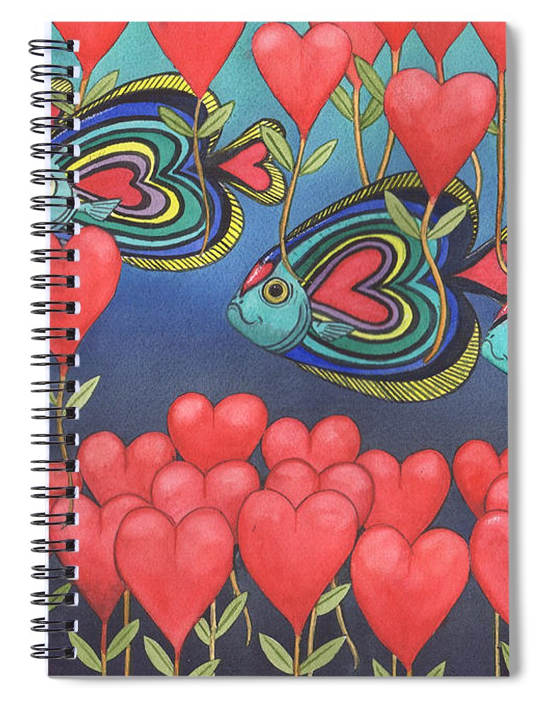 Valentine Spiral Notebook featuring the painting Heart fish by Catherine G McElroy