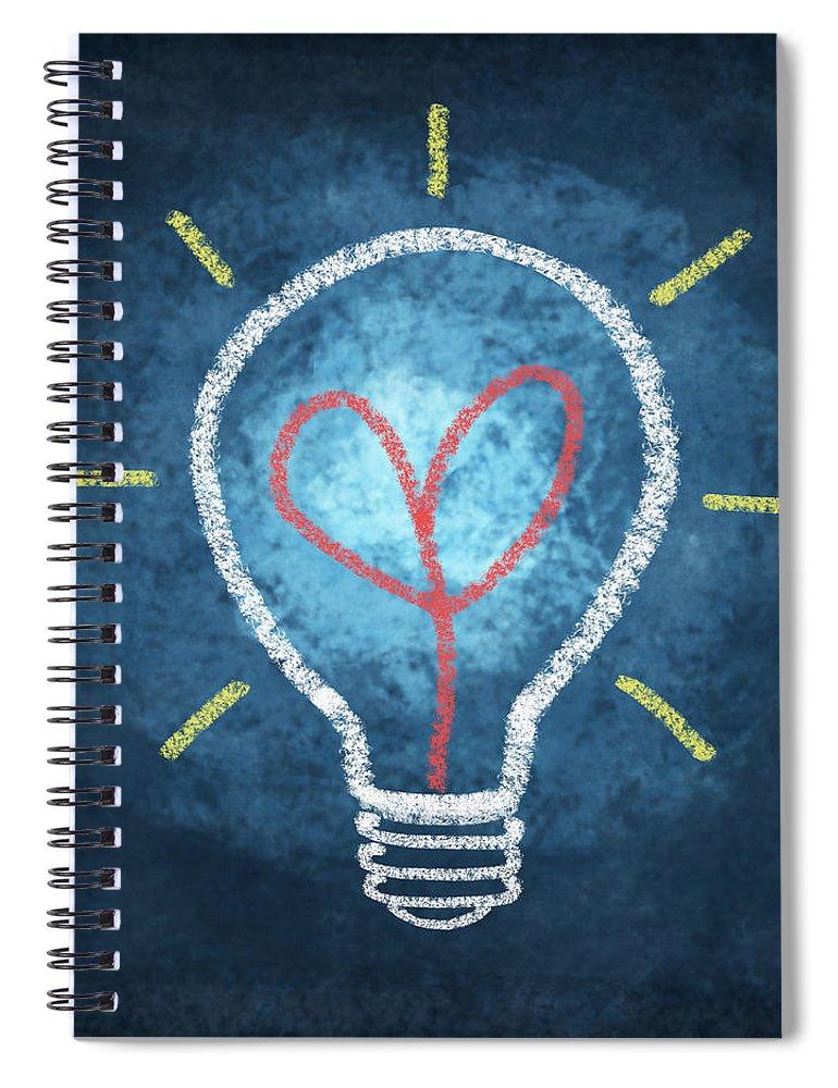 Attentive Spiral Notebook featuring the photograph Heart In Light Bulb by Setsiri Silapasuwanchai