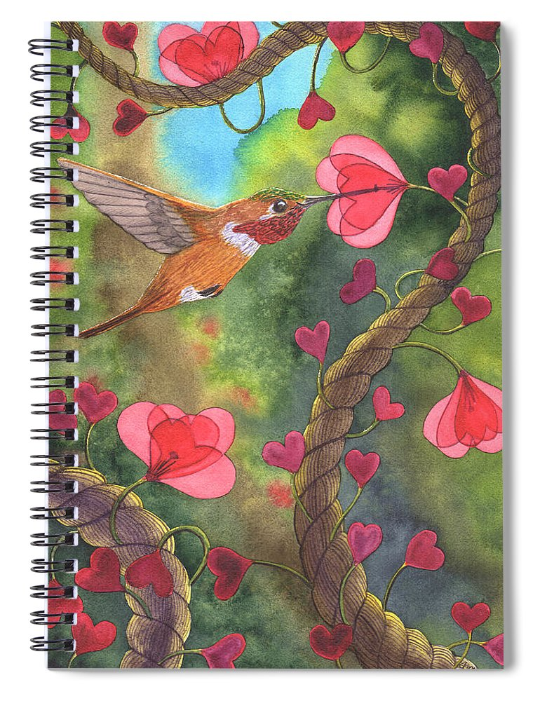 Valentine Spiral Notebook featuring the painting Heart Twine by Catherine G McElroy