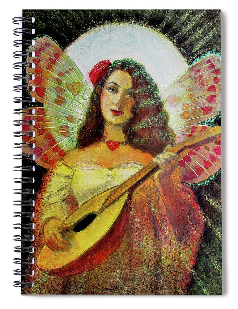 Angel Spiral Notebook featuring the painting Heart Wings Angel by Sue Halstenberg