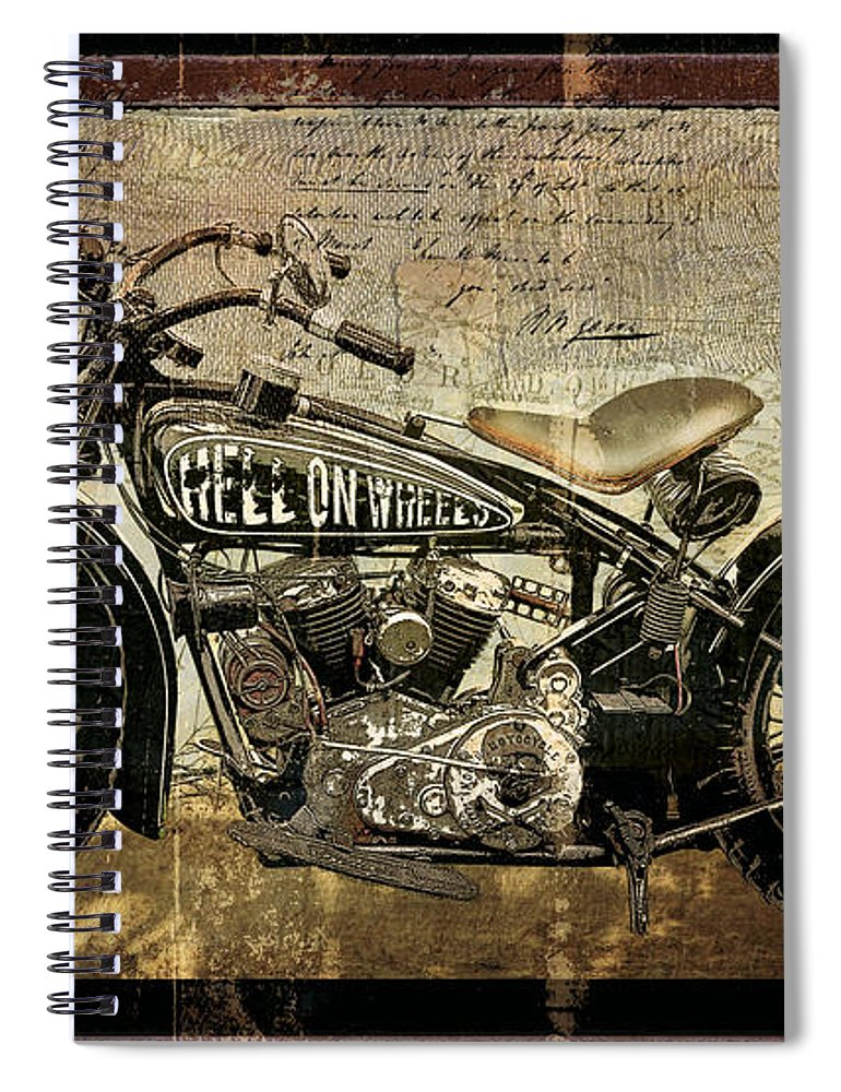 Mancave Spiral Notebook featuring the painting Hell On Wheels by Mindy Sommers