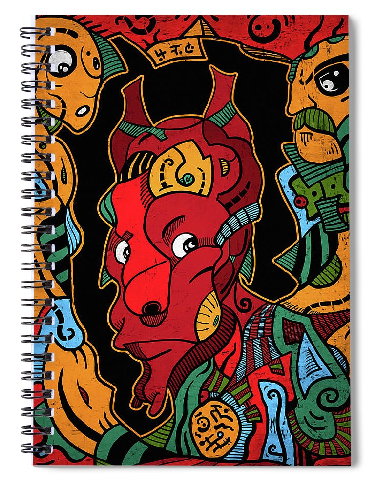 Illustration Spiral Notebook featuring the digital art Hell by Sotuland Art