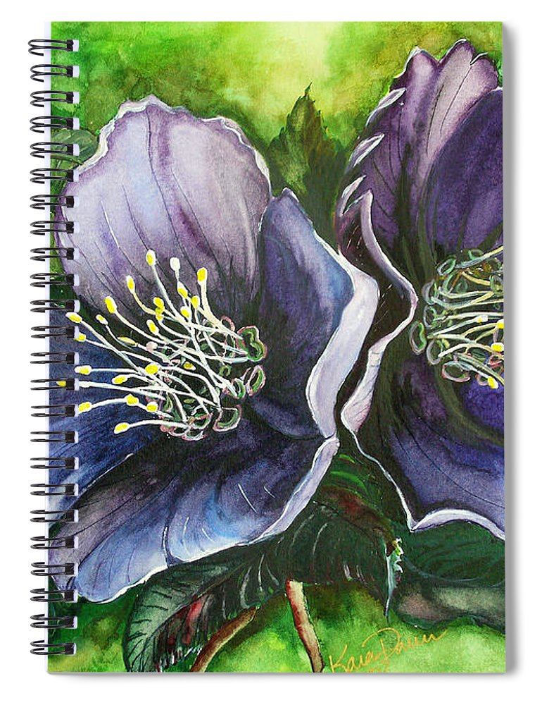 Flower Painting Botanical Painting Original W/c Painting Helleborous Painting Spiral Notebook featuring the painting Helleborous Blue Lady by Karin Dawn Kelshall- Best