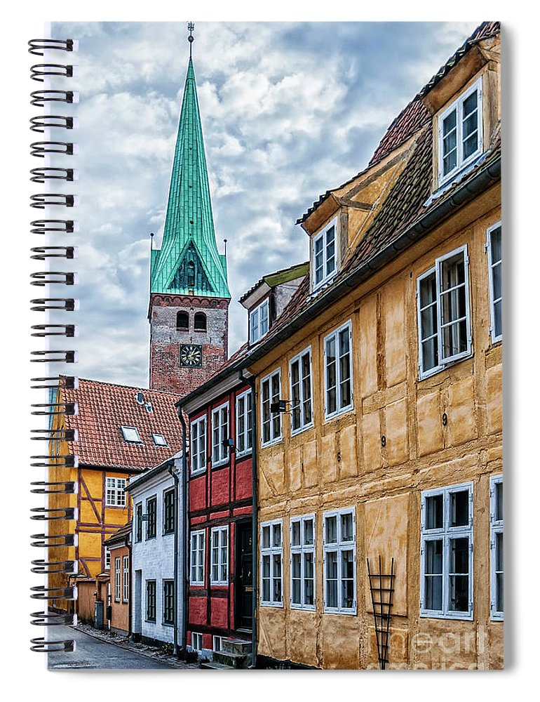 Denmark Spiral Notebook featuring the photograph Helsingor Old Street by Antony McAulay