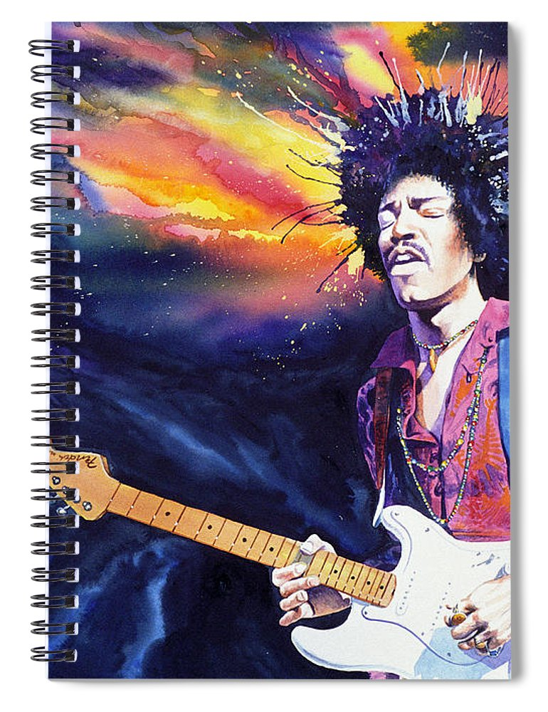 Jimi Hendrix Spiral Notebook featuring the painting Hendrix by Ken Meyer jr