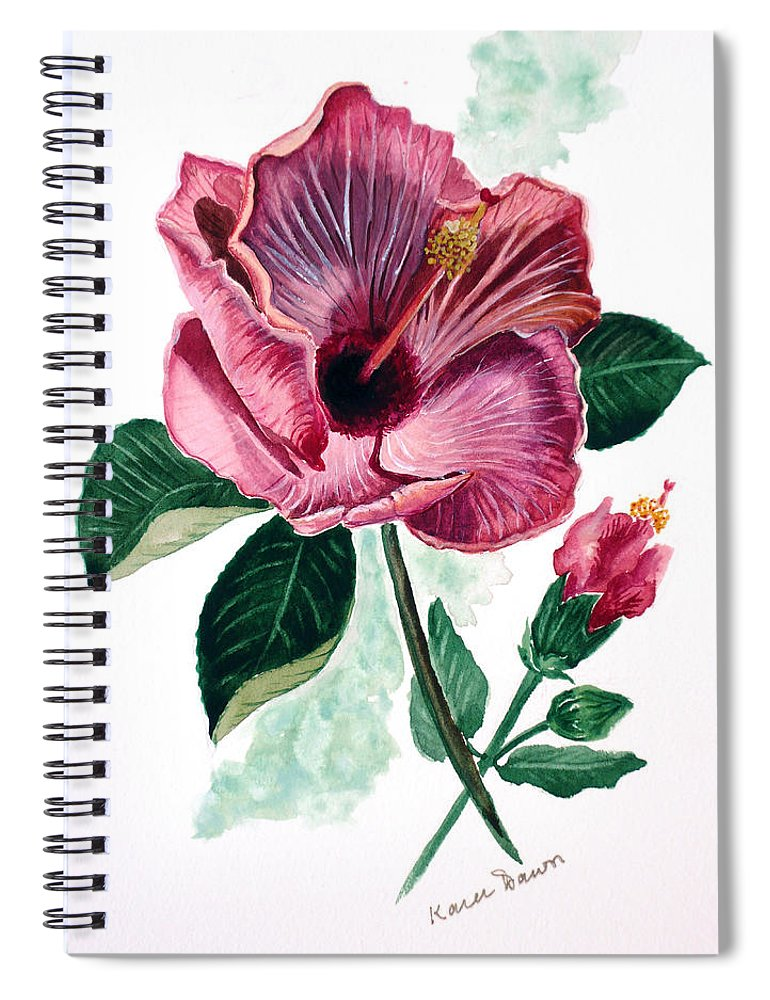 Flora Painting L Hibiscus Painting Pink Flower Painting Greeting Card Painting Spiral Notebook featuring the painting Hibiscus Dusky Rose by Karin Dawn Kelshall- Best