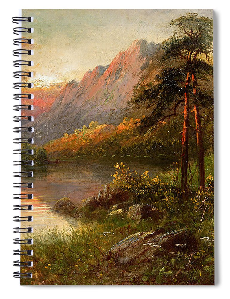 Highland Solitude (oil On Canvas) By Frank Hider (c.1861-1933) Spiral Notebook featuring the painting Highland Solitude by Frank Hider