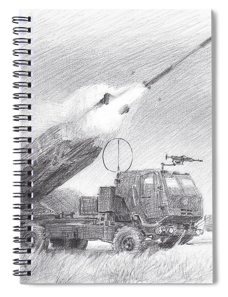 Www.miketheuer.com Himars Pencil Portrait Spiral Notebook featuring the drawing HIMARS pencil portrait by Mike Theuer