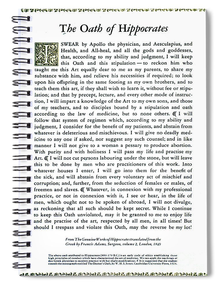 Science Spiral Notebook featuring the photograph Hippocratic Oath, 1938 by Science Source