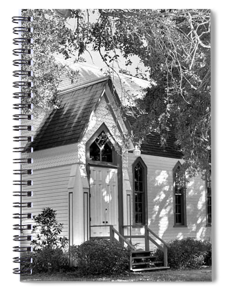 Historic Andrews Memorial Chape Dunedin Florida Black And Whitel Spiral Notebook featuring the photograph Historic Andrews Memorial Chapel Dunedin Florida Black And White by Lisa Wooten