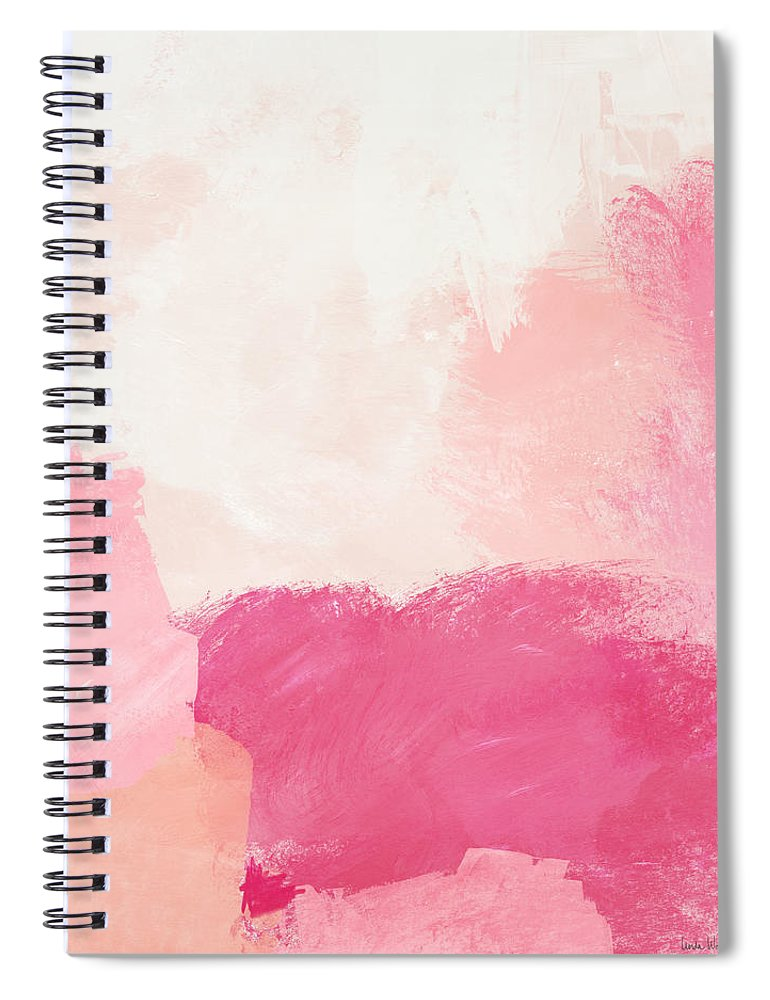 Abstract Spiral Notebook featuring the mixed media History of Pink- Abstract Art by Linda Woods by Linda Woods