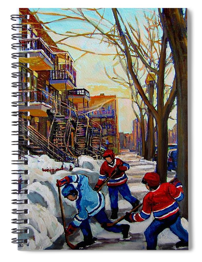 Hockey Canvas Prints Spiral Notebook featuring the painting Hockey On De Bullion by Carole Spandau